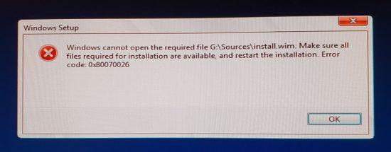 Error 0x80070026 install