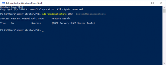 Install DHCP via PowerShell