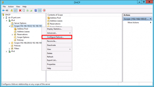 Setup DHCP Failover
