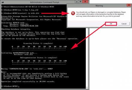 ESE Scan and defrag Active Directory