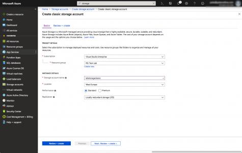 Create Azure Classic Storage