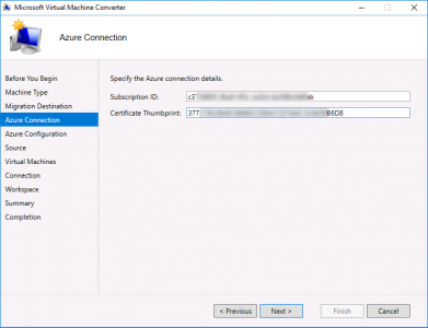 Migrate vCenter to Azure Certificate Thumbprint