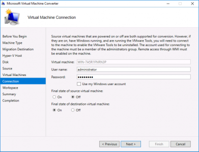 Migrate VMware Virtual Machine Connection
