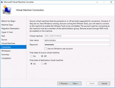 Migrate VMware Virtual Machine Connection