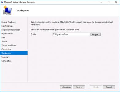 Migrate VMware Virtual Machine Workspace