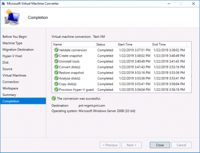 Migrate VMware Virtual Machine Completed