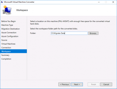 Migrate vCenter to Azure Workspace