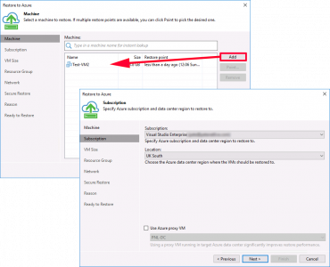 Veeam Restore VMware to Azure VM