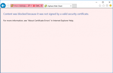 vSphere - content was blocked not signed by a valid certificate