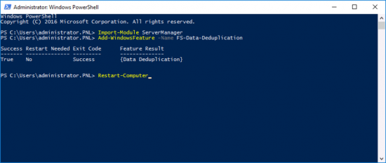 Windows Sever Add deduplication