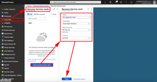 Azure Create Recovery Services Vault