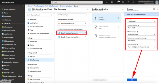 Enable ReplicationTo Azure