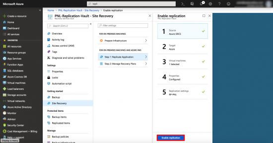 Enable Replication To Azure