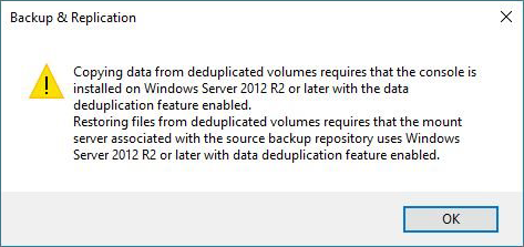 Veeam - Copying files from deduplicated
