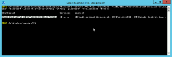 Import PFX into Exchange