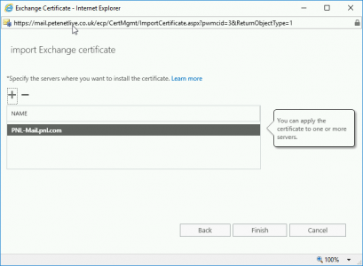Assign Certificte to Exchange Server