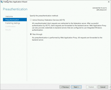 Publish Outlook AnyWhere Pass Through Authentication