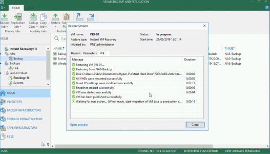 Veeam Instant Recovery Progress