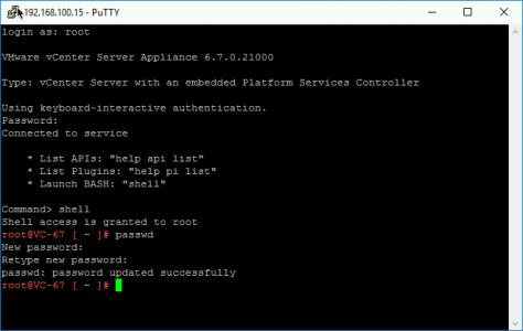 VCSA Root Passowrd Reset via SSH