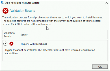 Hyper-V The Validation Process Found Problems