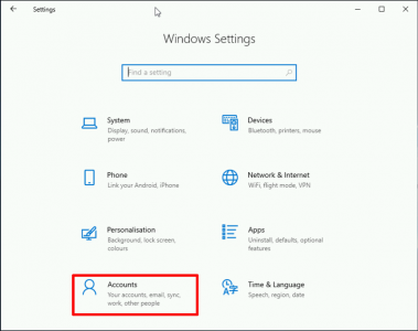 Account Setting Windows 10