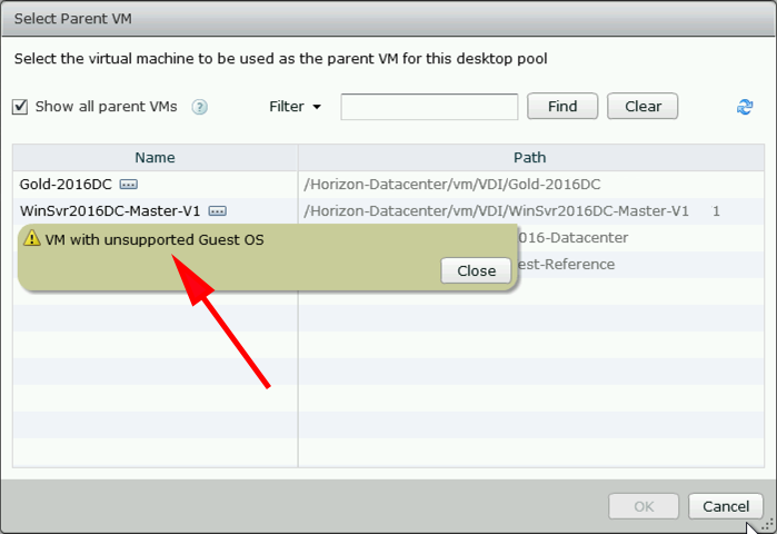 VMware Horizon: 'VM With Unsupported Guest OS' | PeteNetLive