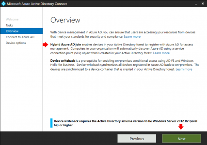 Azure Hybrid AD Join AAD Connect Procedure