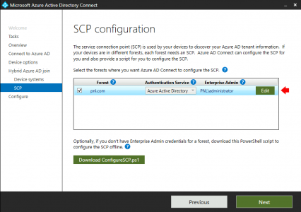 Hybrid Azure AD Join SCP