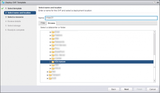 Deploy VMware UAG OVA Placement