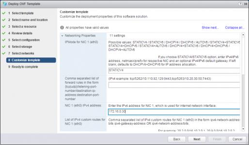 Deploy VMware UAG OVA IP Setup