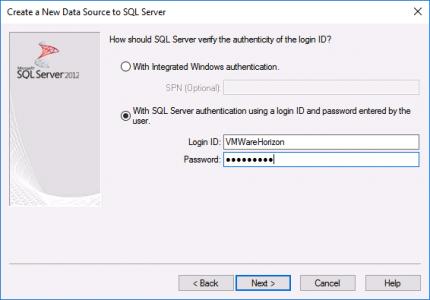 Composer ODBC Setup SQL Auth