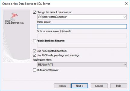 Composer ODBC Setup Database