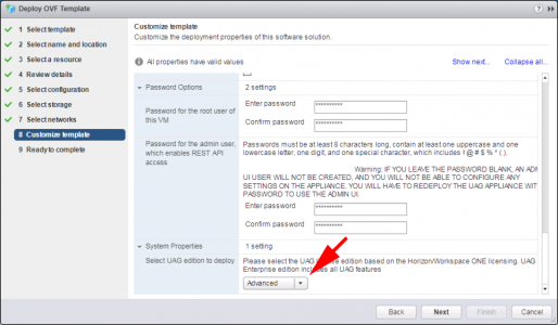 Deploy VMware UAG OVA Licence