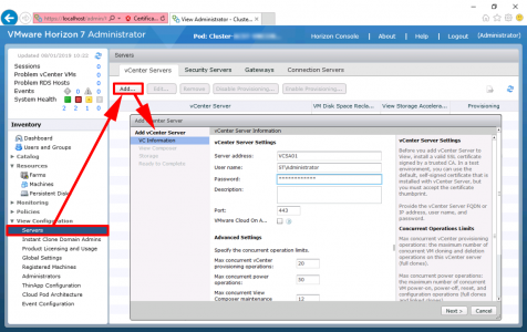 VMware Horizon Add vCenter