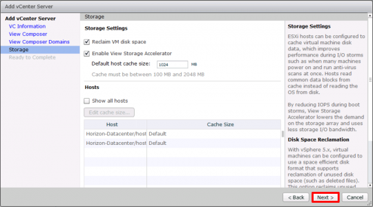 Horizon 7 Add ESX Storage
