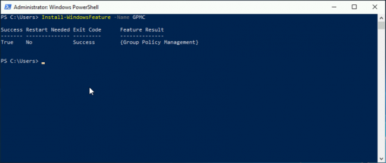 Add Group Policy Managenent with PowerShell