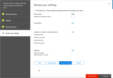 Office 365 Retention Policy Changes