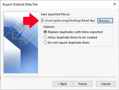 Outlook Export to PST