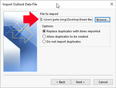 Outlook Import PST Location