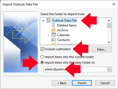 Outlook Import PST Instructions