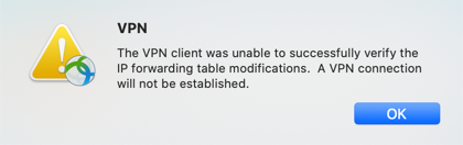 VPN unable to modify IP Forwarding