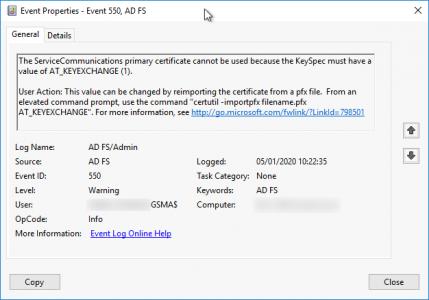 Event ID 550 ADFS