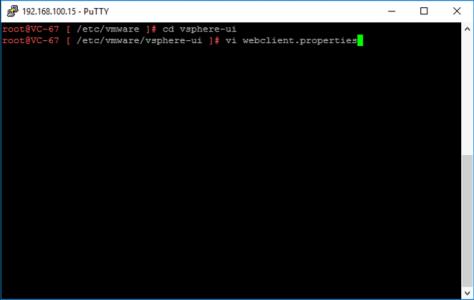 vSphere HTML5 Edit Client timeout properties