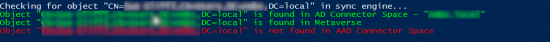 Is not found in AAD Connector space