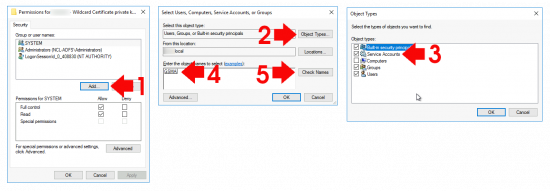 Allow ADFS GSMA Account Access to Certificate Keys