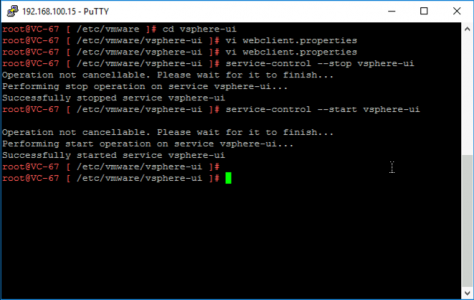 Restart vSphere HTML5 Web console