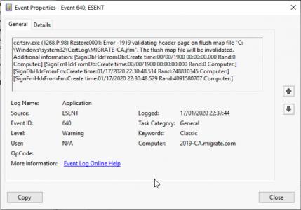 Event ID 640 CA Restore