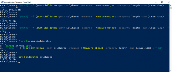 Get Folder Size With PowerShell