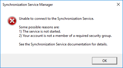 Unable to Connect to To Syncronization Service