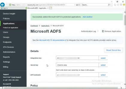 ADFS Duo Secret Keys